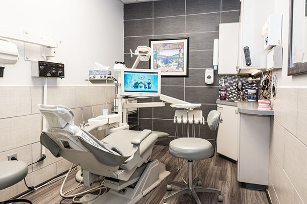 Dental chair in exam room